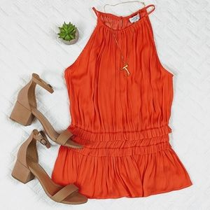 Current Air Gorgeous Back Coral Pleated Tank